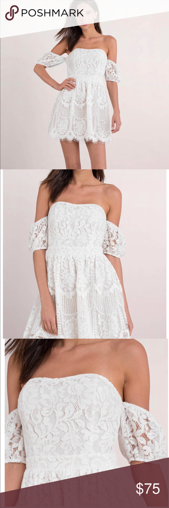 Nwt Tobi Off The Shoulder White Lace Dress This Dress Is A Beautiful Piece For Multiple Occasions Perfect For Anything Br Lace White Dress Lace Dress Dresses [ 1740 x 580 Pixel ]