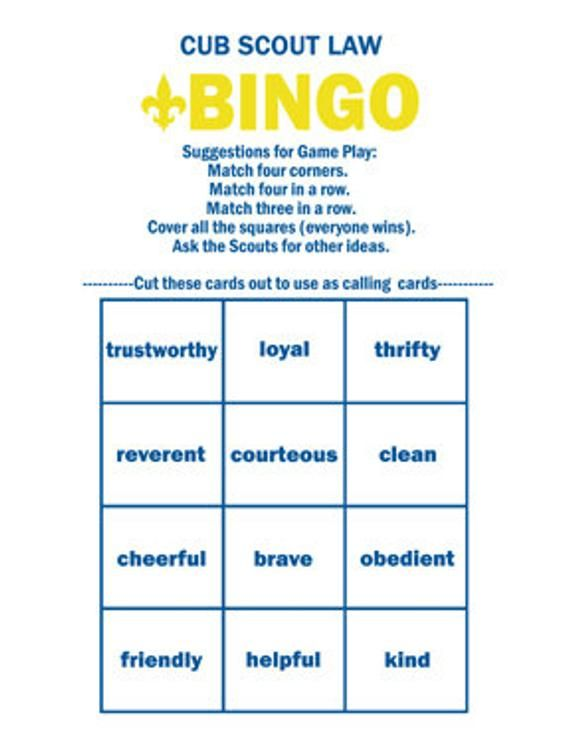 CUB SCOUT BINGO, Learn Cub Scout Law Easily | Fun Playing Bingo | Required for Bobcat Rank | Printable Digital Files