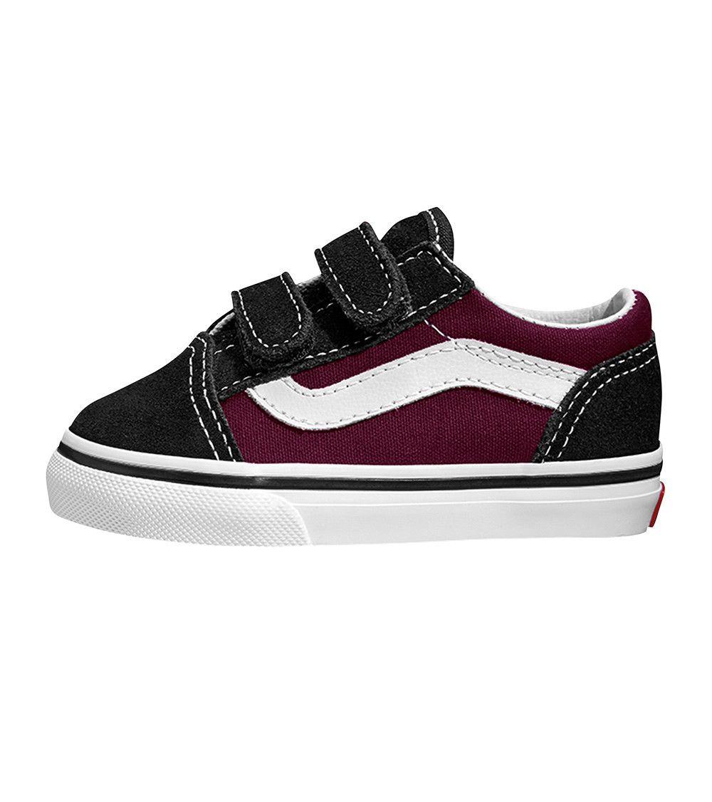 e5b85261aa83 Vans Old Skool V Toddler POP Black Burgundy