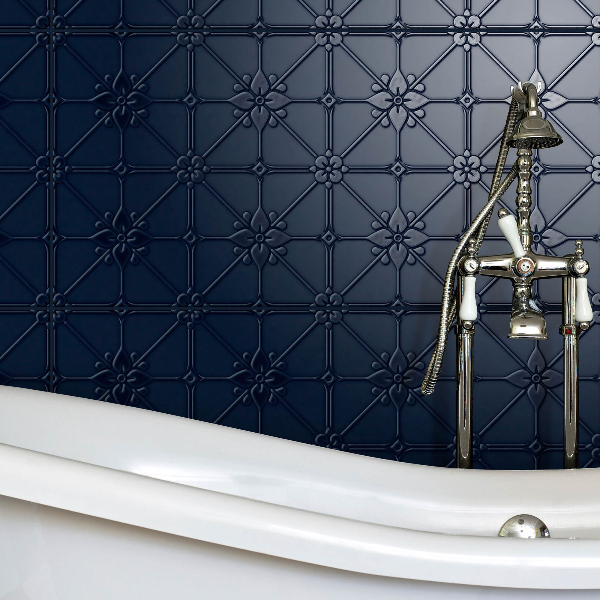pressed metal look tiles are seriously great for a