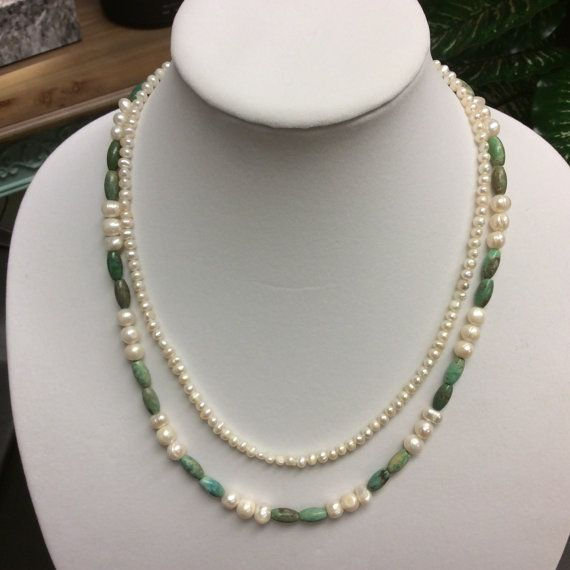 2 strands of freshwater cultured pearls & turquoise by Blisssaltspa