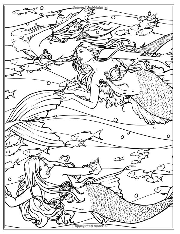 Mermaids - Calm Ocean Coloring Collection (Fantasy Art Coloring by ...