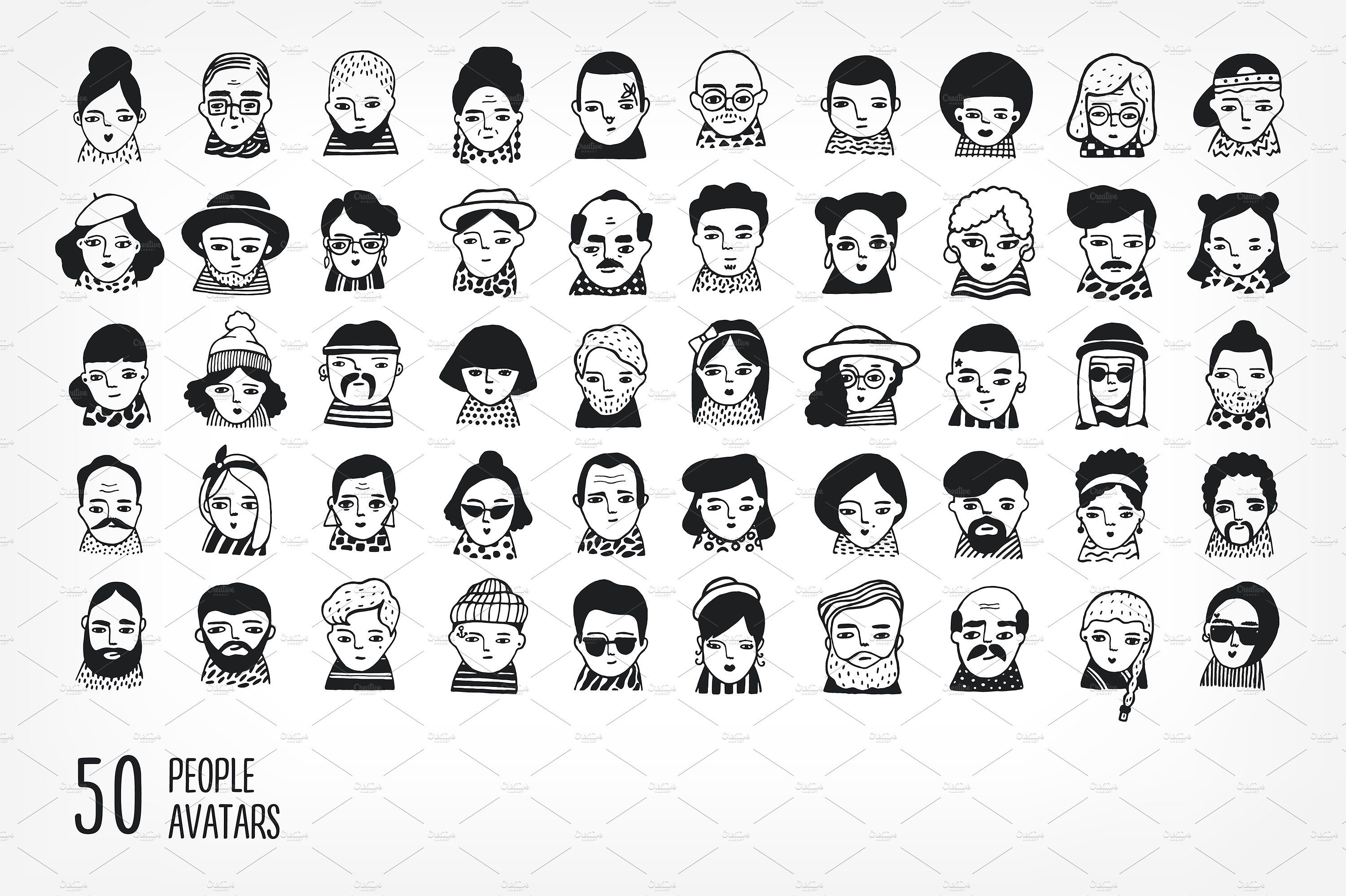 50 people avatars glassesmustachesfaceshair art design