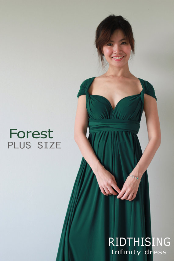 d255ce9cf5c1 Plus Sizes Maxi Forest Green Bridesmaid Dress infinity Dress Prom Dress  Convertible Dress Wrap Dress