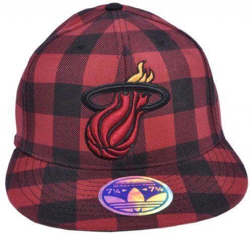 NBA TX80Z Miami Heat Adidas Fitted Cap Hat Plaid Flat Bill Size 7 1 ... 1687fbb95e