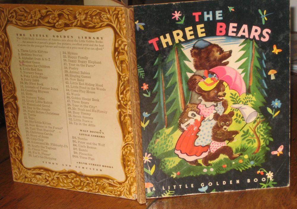 THE THREE BEARS - LITTLE GOLDEN BOOK (VINTAGE, 1948, ROJANKOVSKY ...