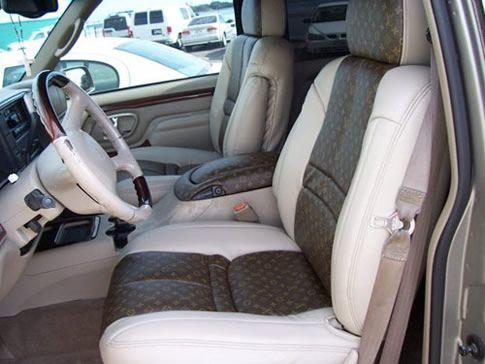 Brown LV Vinyl Car Seat Interior