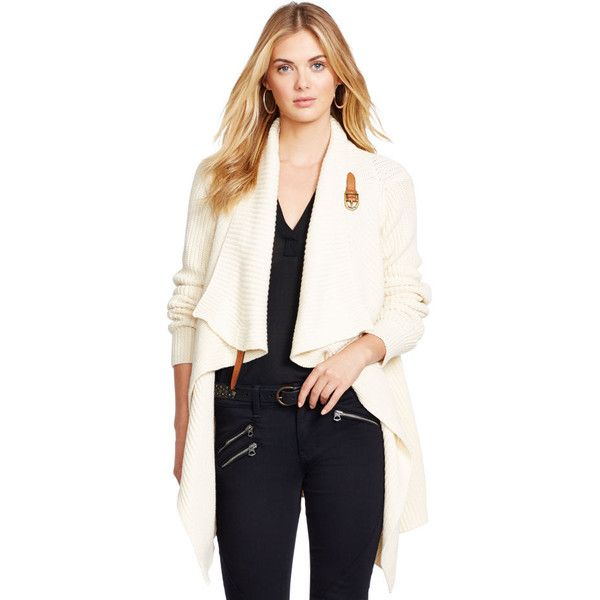 e7fd6bab45 Polo Ralph Lauren Leather-Trim Wrap Cardigan ($80) ❤ liked on ...
