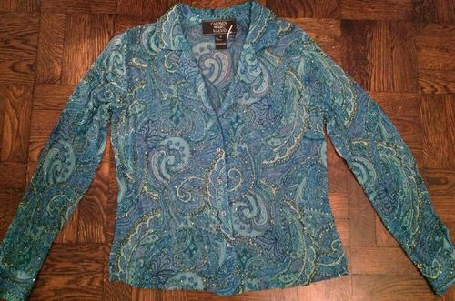 Stunning Carmen Marc Valvo Bohemian Beads & Sequins Silk Gypsy Paisley Shirt Size 10 NWT  $85 eBay