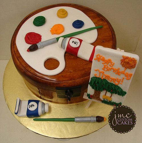 Cake Art Supplies Caringbah : painting birthday cake Palette Theme Cake - Wood Grain ...