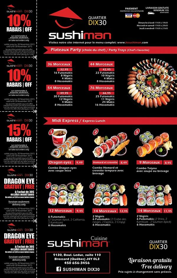 menus du jour back cover of the booklet sushi restaurant coupons