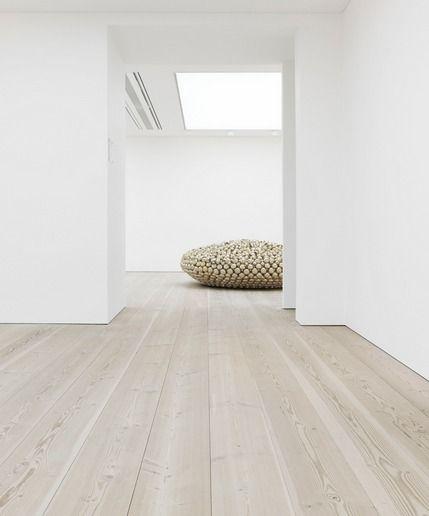 blank canvas. Beautiful 12 meter long wooden floors by Dinesen. The Saatchi Gallery, London.