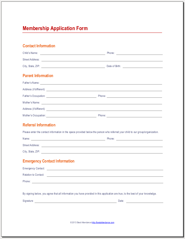 Membership Forms Templates Form Template Word And Excel, 15 Club  Application Templates Free Sample Example Format, Membership Application  Template 12 Free ...  Information Form Template Word