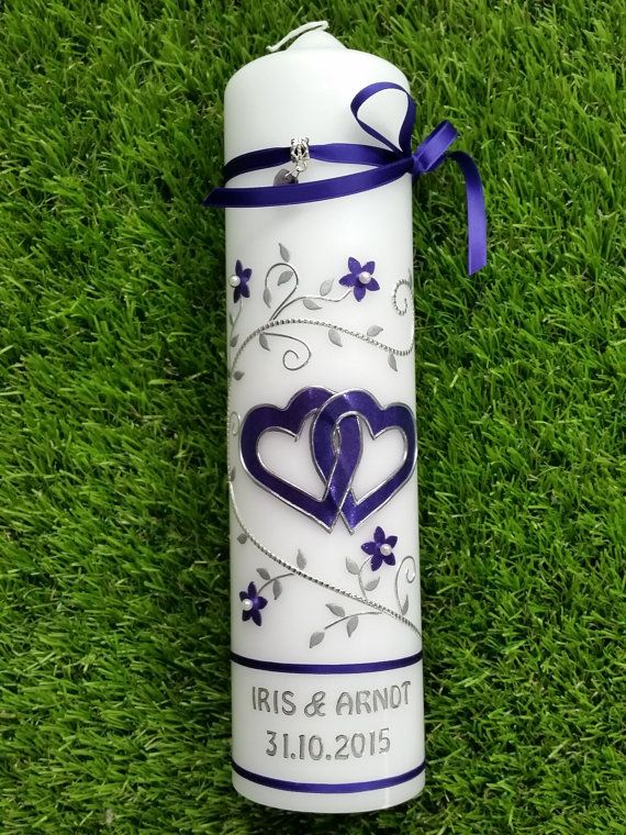 Hochzeitskerze Brautkerze Traukerze lila flieder