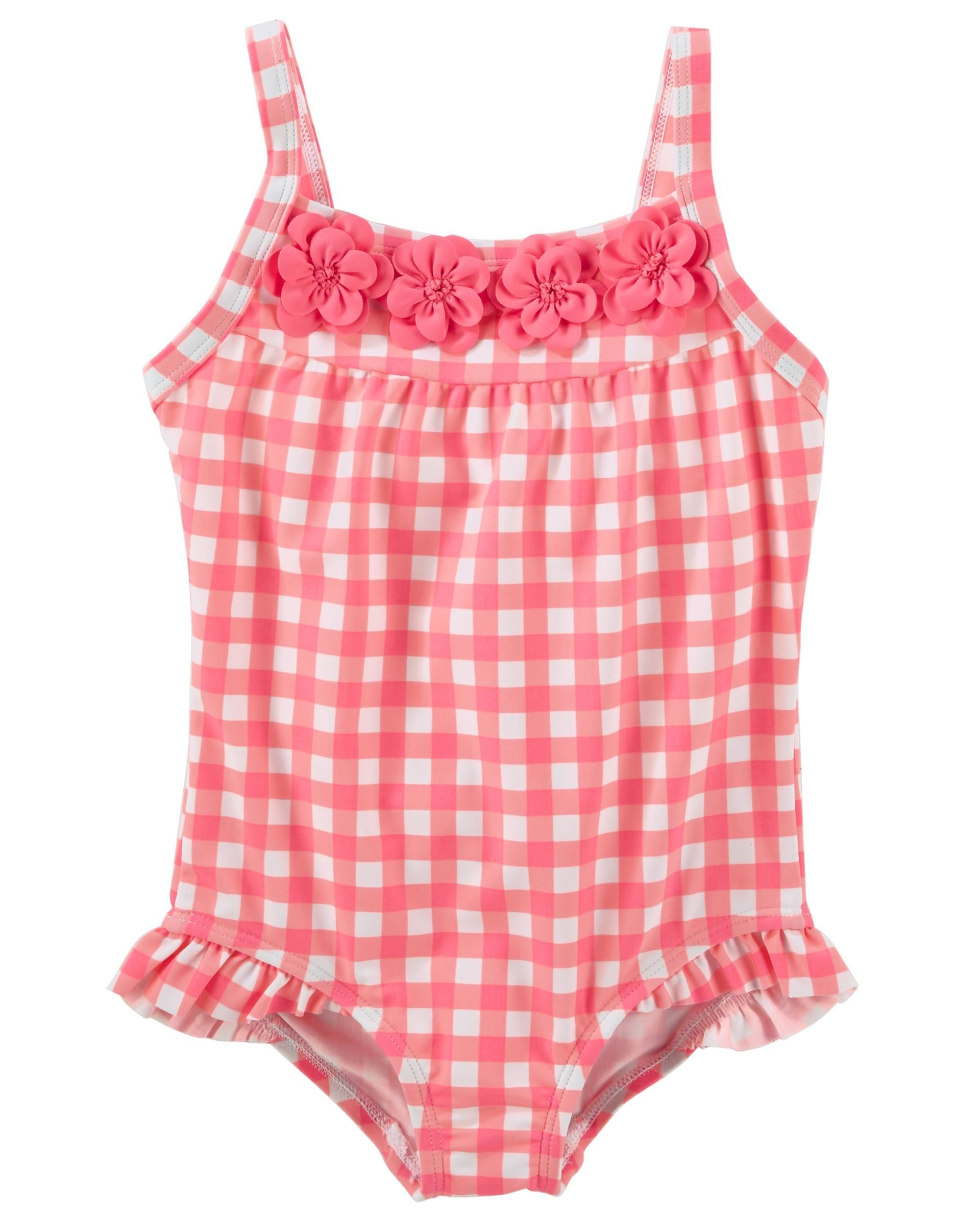 c66f25df14 She'll be pretty in gingham in this super sweet one piece! With UPF 50+ sun  protection, this bathing suit features ruffles at the legs and placed 3D  floral ...