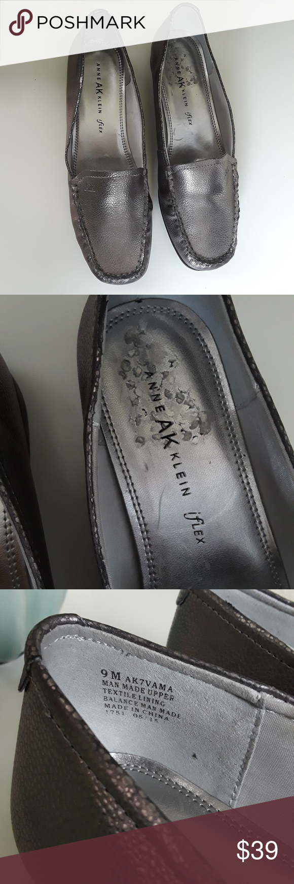 a3af54410667 Anne Klein Pewter Slip On Loafer Flats Size 9 Vama patent leather loafers.  Women s size 9 Medium. iflex cushioned technology insole. Metallic silver.