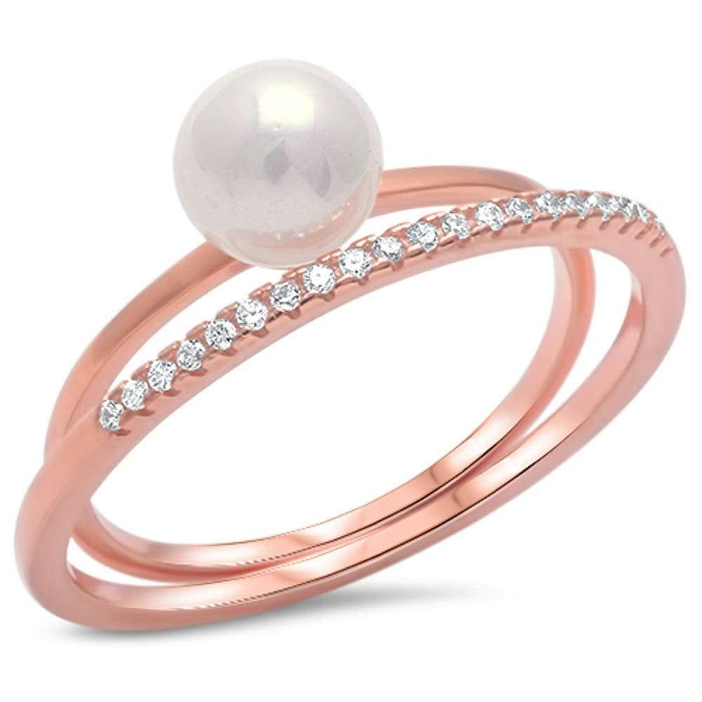 New design trendy round fresh water pearl double ring round pave