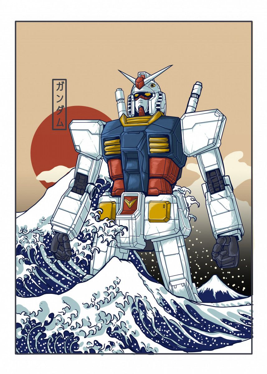 Gundam Great Wave Kanagawa Anime & Manga Poster Print