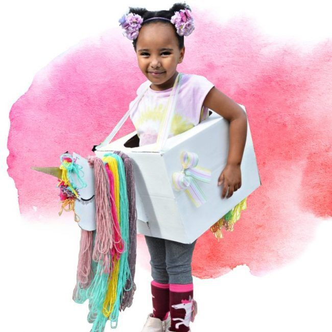 turn a cardboard box into a cute unicorn costume
