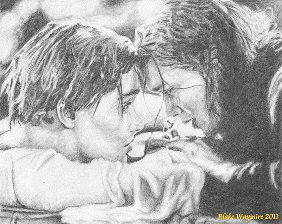 8x10 Original Graphite Drawing Of Jack And Rose From Tatanic Art