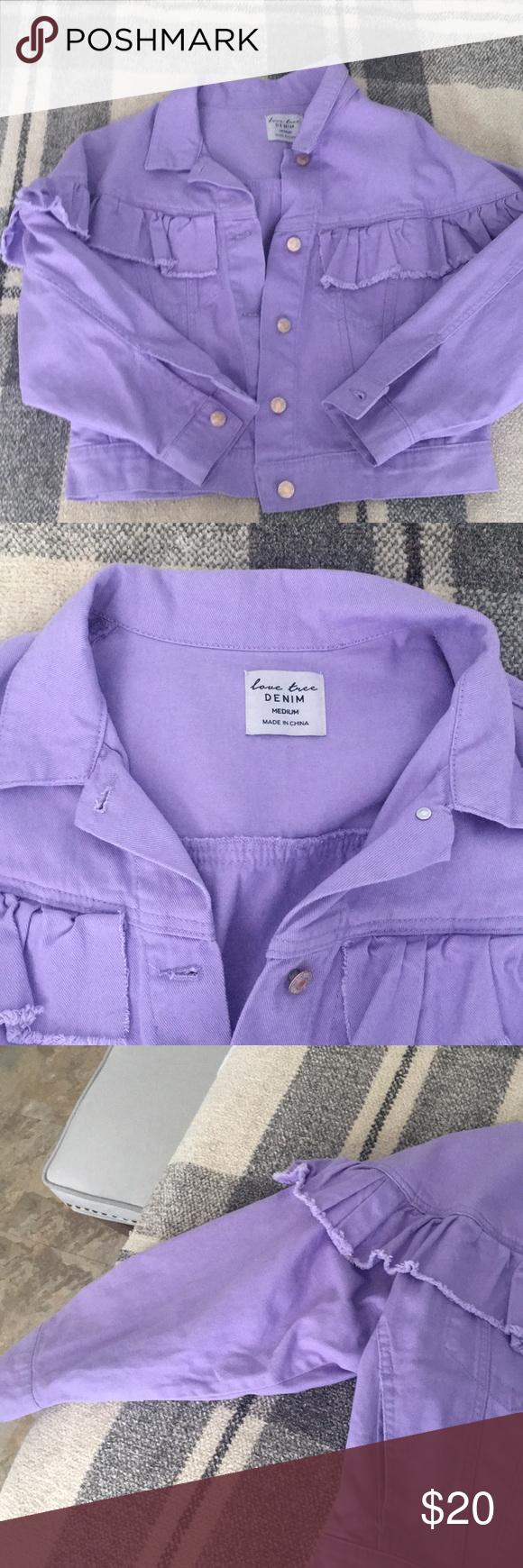 Lavender Denim Jacket Lavender Jean Jacket With Frill Design Across The Chest And Shoulder Super Cute Love Tree Jackets Jackets Denim Jacket Clothes Design [ 1740 x 580 Pixel ]