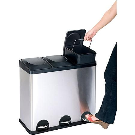 The Step N Sort 12 Gallon 3 Compartment Trash And Recycling Bin Perfect For Smaller Spaces Walmart Com Trash And Recycling Bin Recycling Bins Recycle Trash Trash can with recycling compartment