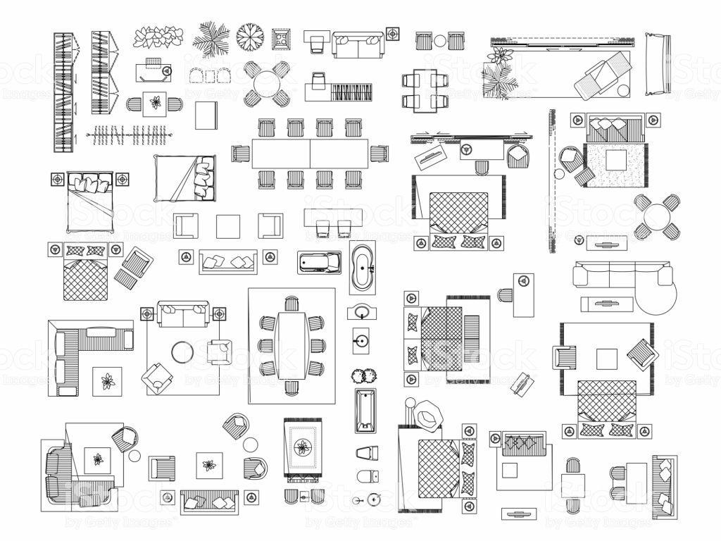 top view of set furniture elements outline symbol for bedroom floor plan symbols floor on kitchen interior top view id=49213