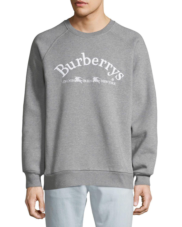 Burberry Men's Battarni EmbroideredLogo Jersey Crewneck
