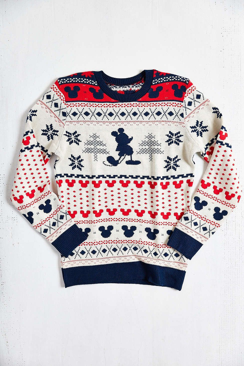 mickey mouse fair isle crew neck sweater urbanoutfitters want mickey christmas - Mickey Mouse Christmas Sweater