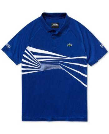 a3eee45c Lacoste Men's Novak Djokovic Center Geo Print Ultra Dry Polo - White ...