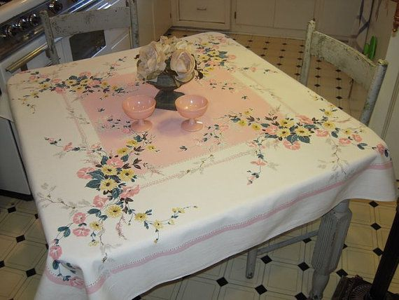 Vintage Tablecloth Prettiest Pink Morning by unclebunkstrunk, $42.99