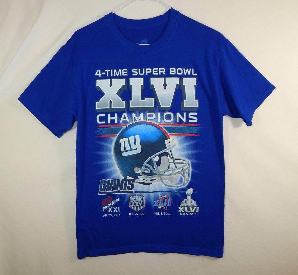 New York Giants Super Bowl XLVI Champions NFL Football T Shirt Size SMALL S   NewYorkGiants 6fc86c6fe