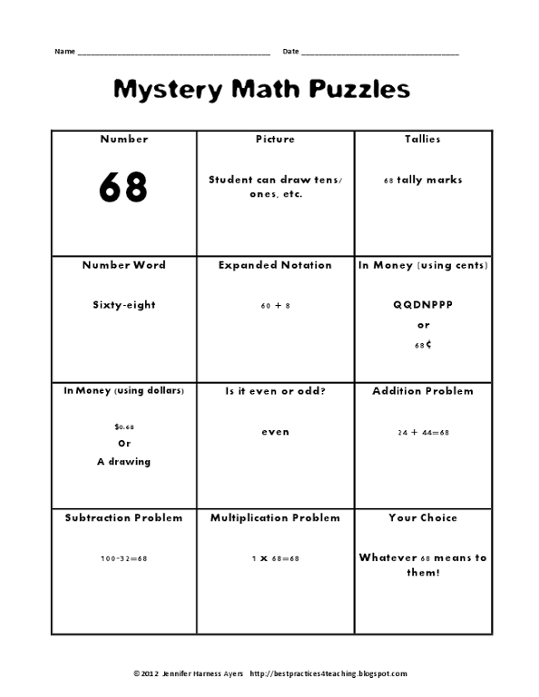 Mystery Math Puzzles Pdf Maths Puzzles Teaching Math Elementary Math