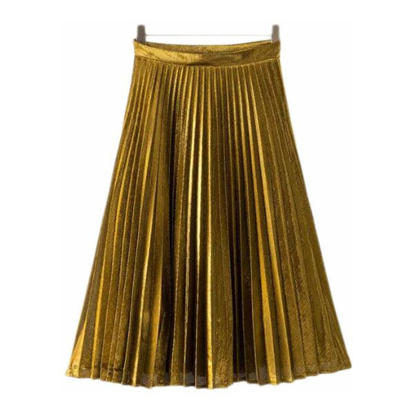 Gold Zipper Side Pleated Flare Skirt (45 BAM) via Polyvore featuring skirts, gold skater skirt, gold skirt, brown pleated skirt, pleated skater skirt i pleated skirt