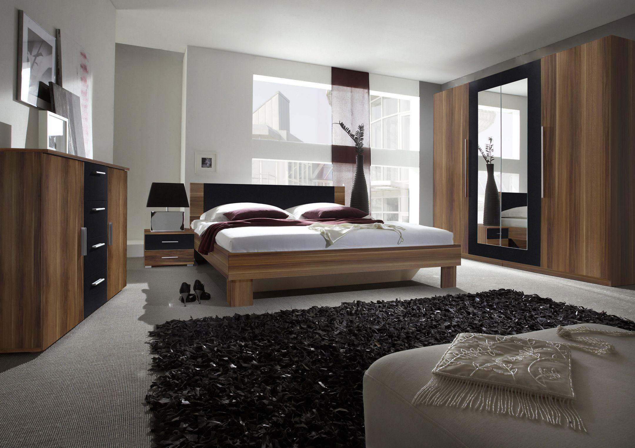 Schlafzimmer Mit Bett 180 X 200 Cm Kernnussbaum/ Schwarz