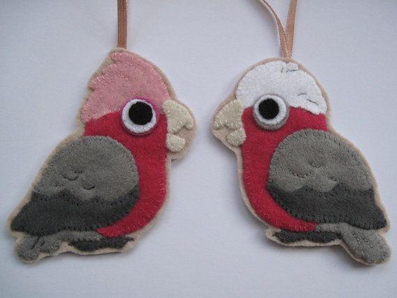 Etsy 2 Felt Galah Cockatoos Parrot Ornaments Crafty