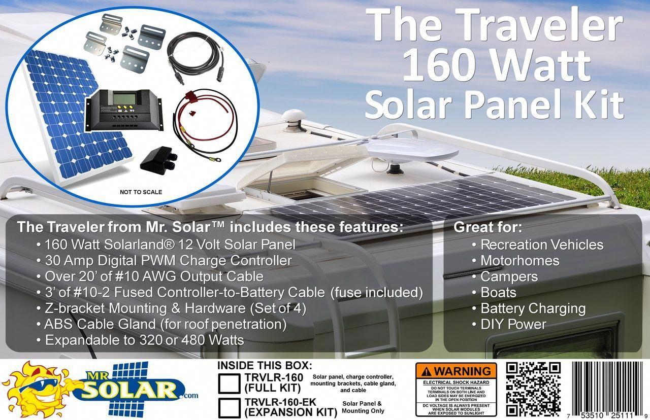 Mr Solar Diypower The Traveler 160 Watt Expandable Solar Panel Kit Trvlr 160 Solar Solar Panel Kits Solar Technology