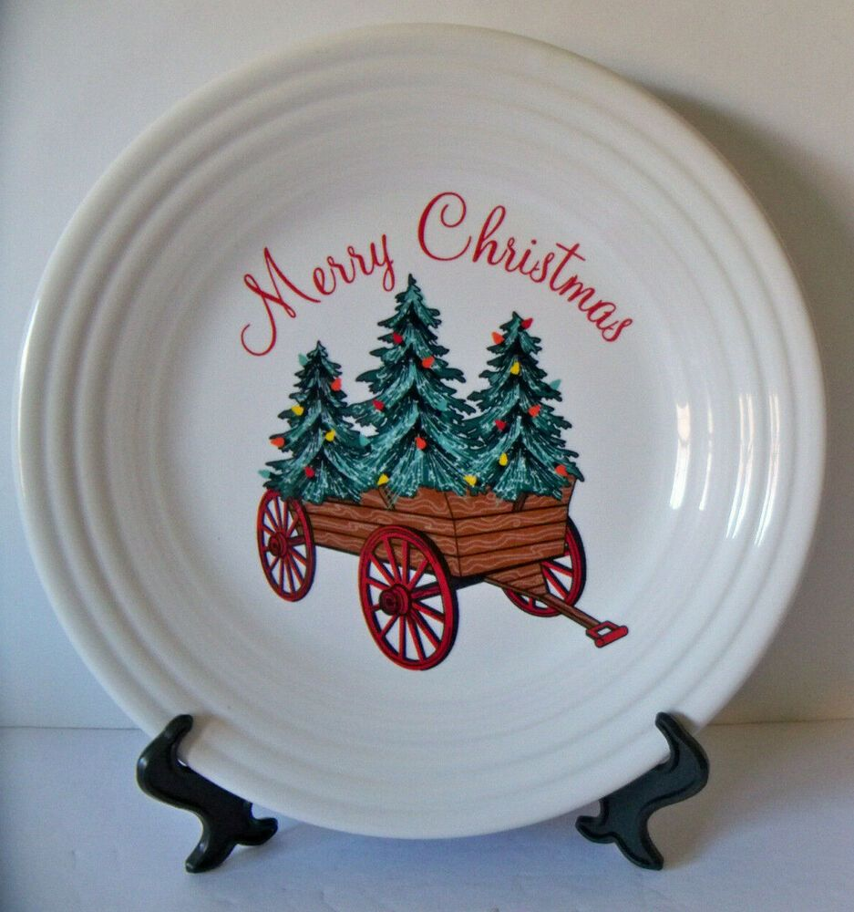 Details About Fiesta Christmas Holiday Wagon Trees Decal Luncheon Plate New 2019 W Tags With Images Tree Decals Fiesta Dinnerware Christmas Holidays