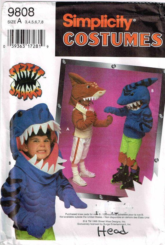 Child Shark Head Halloween Costume Sewing Pattern Simplicity 9813 ...