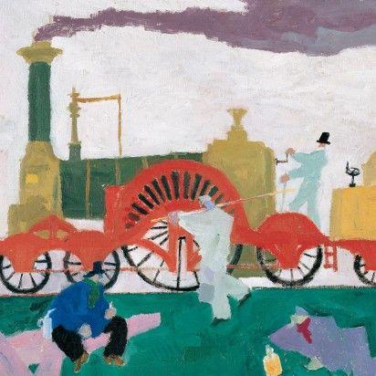 Lyonel Feininger Die Lokomotive mit dem grossen Rad, 1910  Öl auf Leinwand Dauerleihgabe der Sammlung Batliner