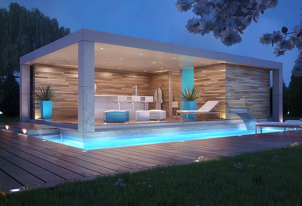 Small Modern Pool House Design White Stucco Veneer With Light Wood Siding Inground Pool Deck Modern Pool House Pool House Designs Pool Patio Designs
