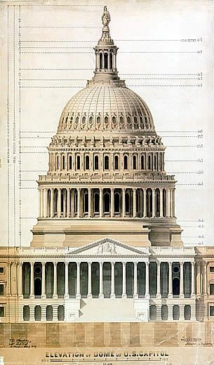 US Capitol Architectural Drawing by Thomas U Walter (1859 - copy capitol blueprint springfield illinois