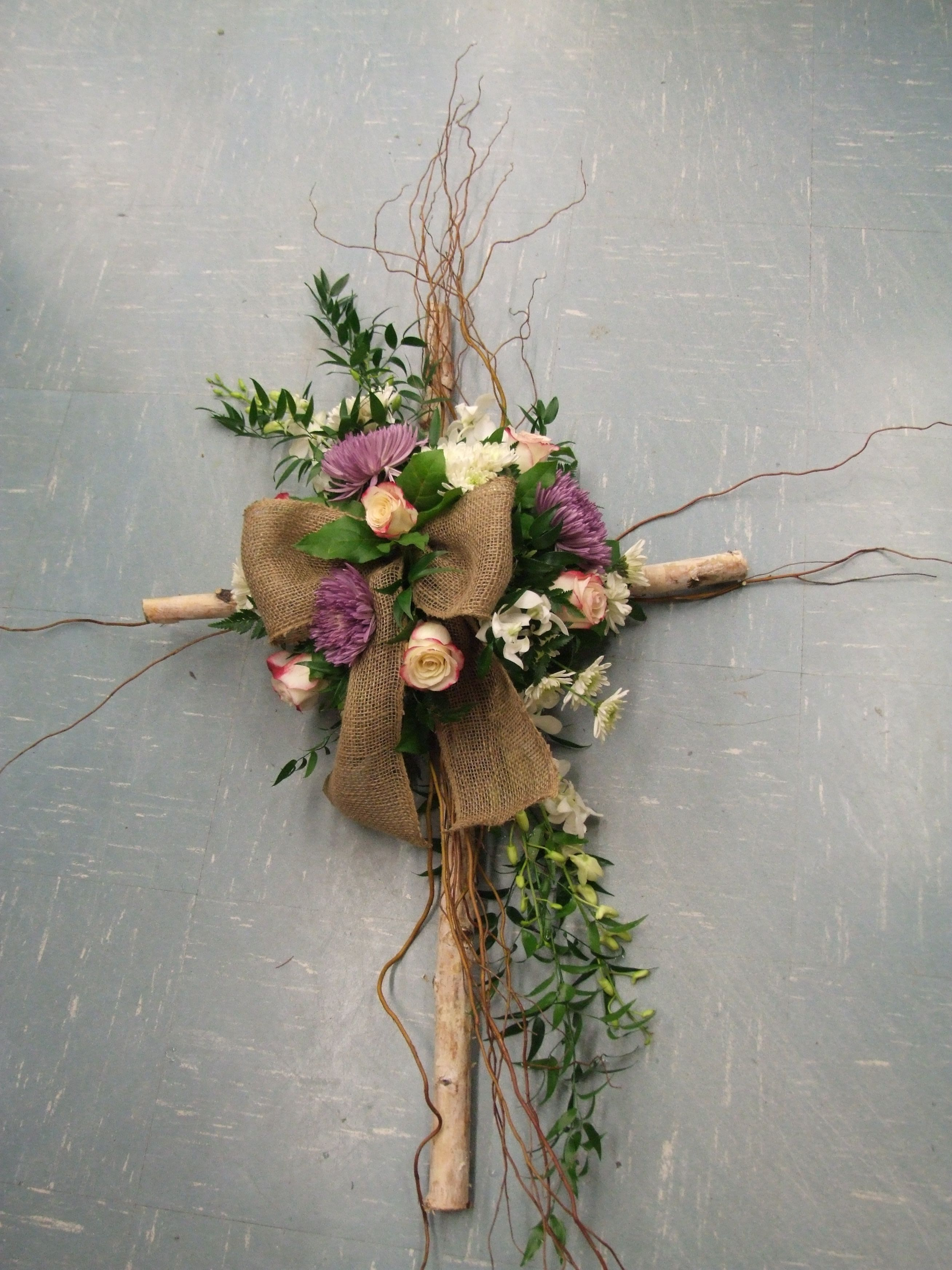 Modern Take On A Sympathy Cross Curly Willow Roses And Chrysanthemums Palm Sunday Decorations Arts And Crafts For Adults Easter Crafts