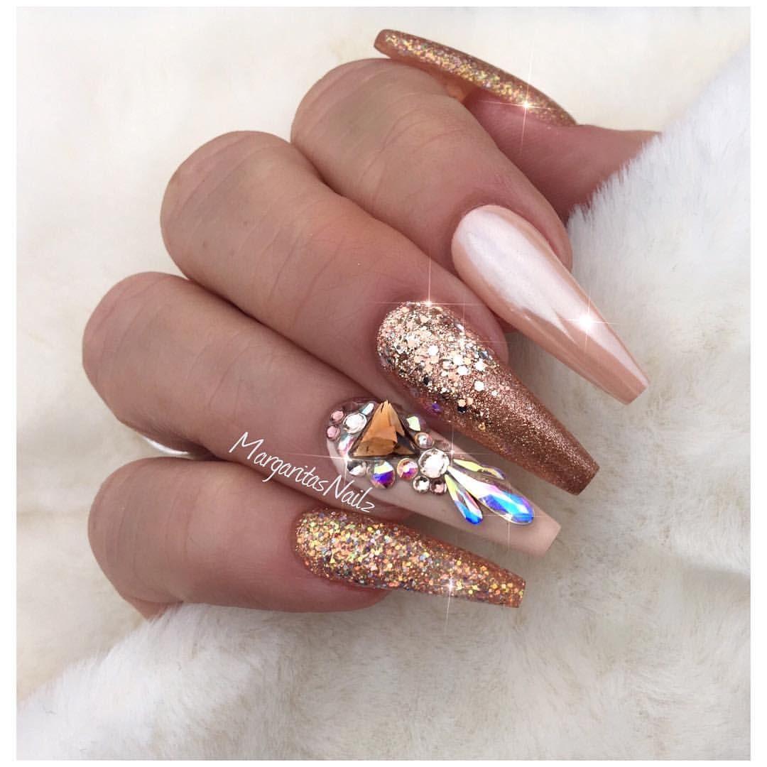 Rose gold coffin nails Fashion nail art design #nails #coffinnails ...