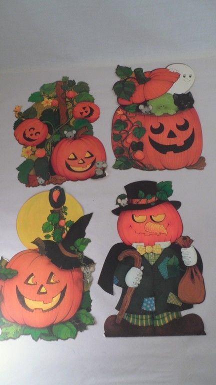 4 VTG Halloween Die Cut Decorations - Jack O\u0027Lantern Black Cat Mice