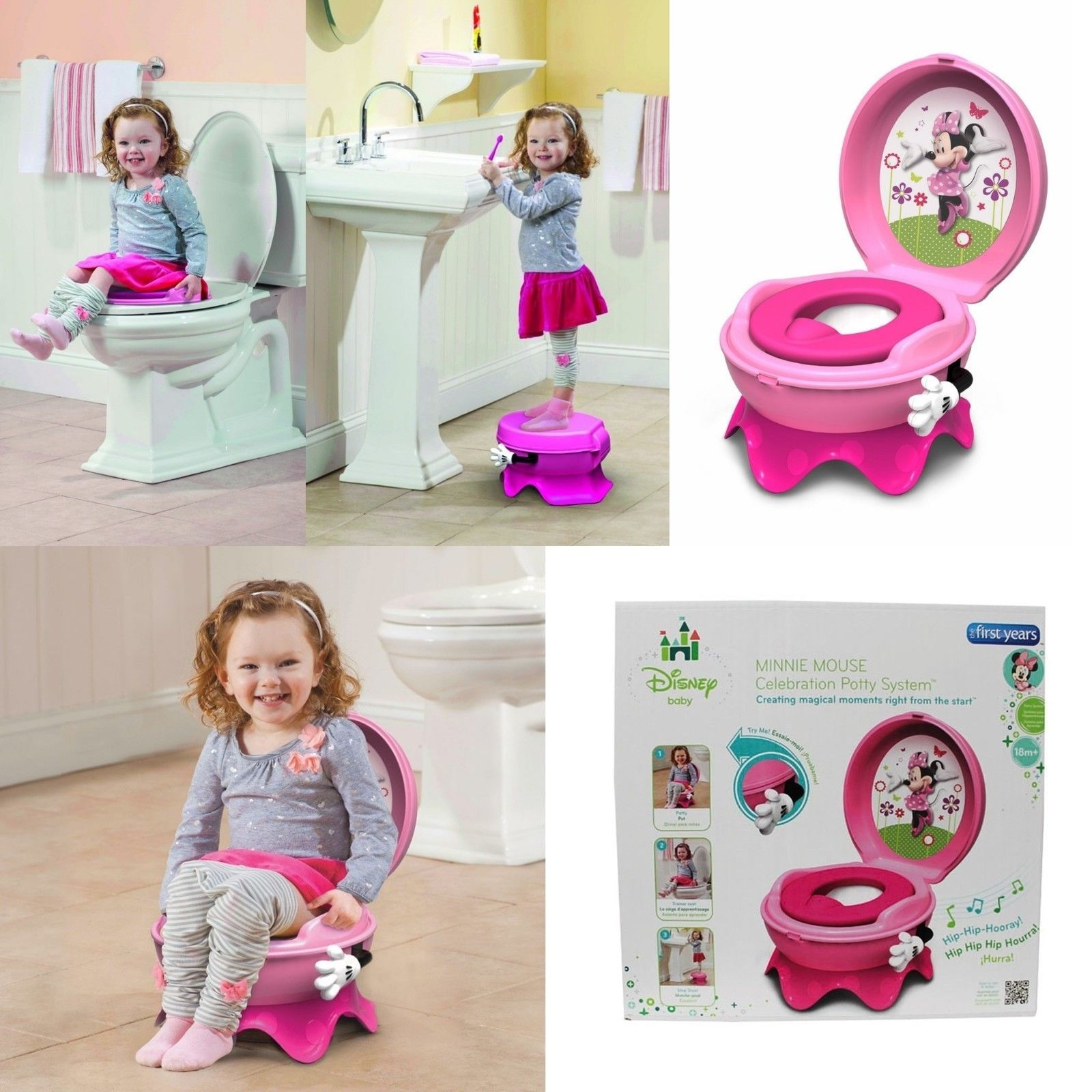 Minnie Mouse Portable Potty Training Toilet Seat 3 In 1 System For