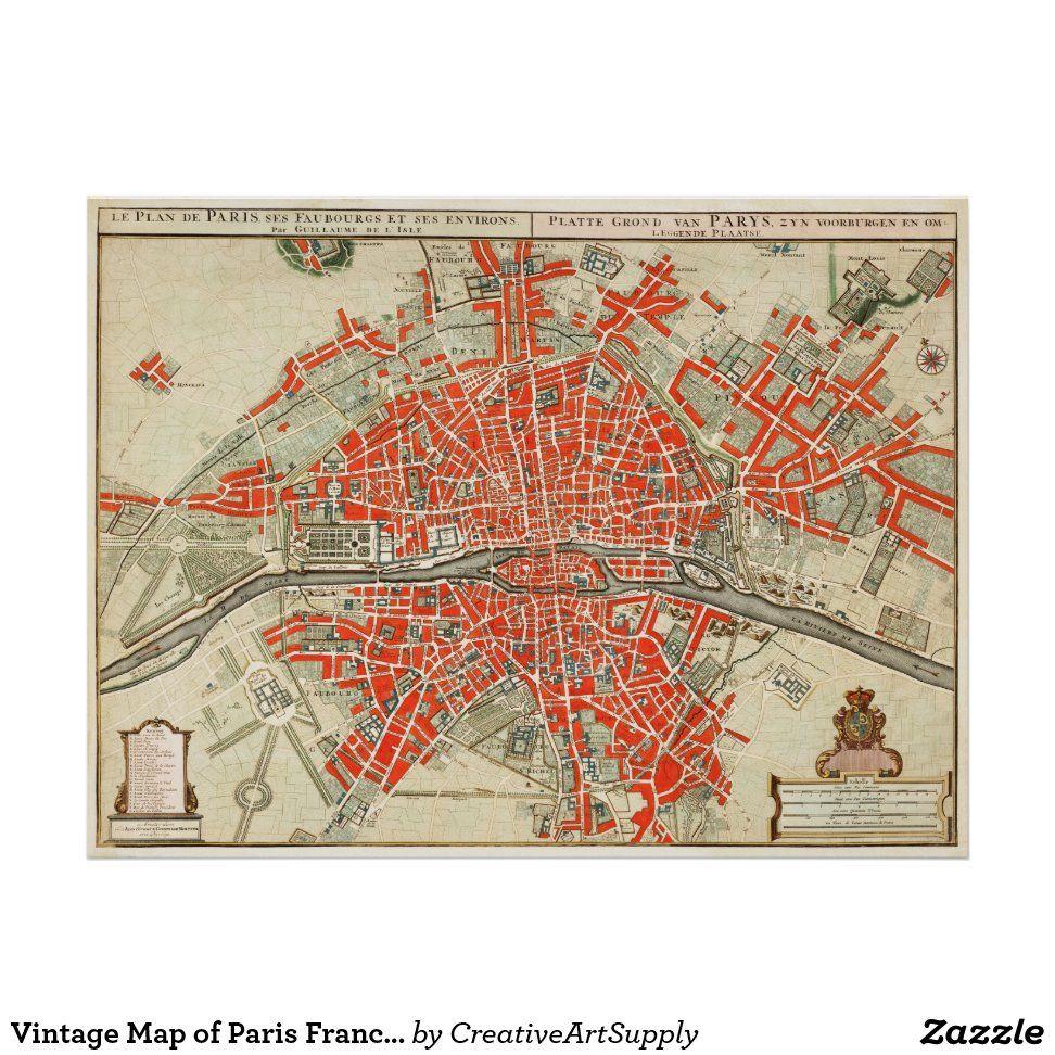 Vintage Map Of Paris France 1721 1774 Poster Zazzle Com In 2020 Paris Map Vintage Map Vintage