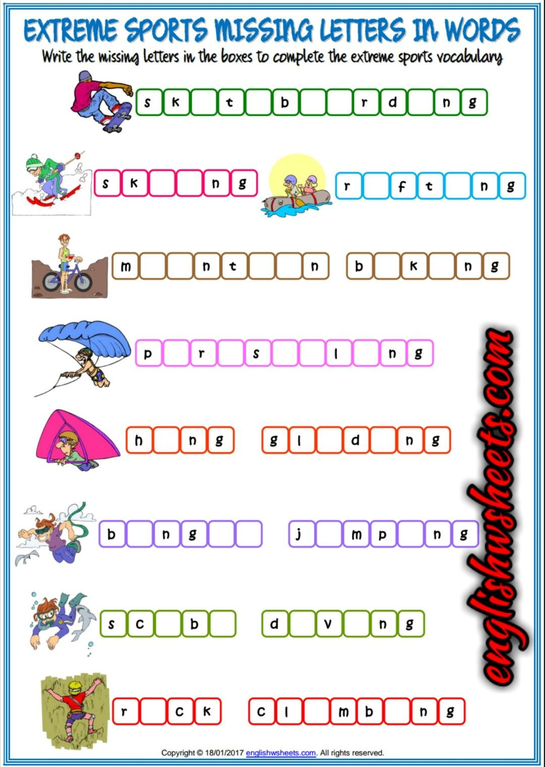 Extreme Sports Esl Printable Missing Letters In Words Worksheet For Kids