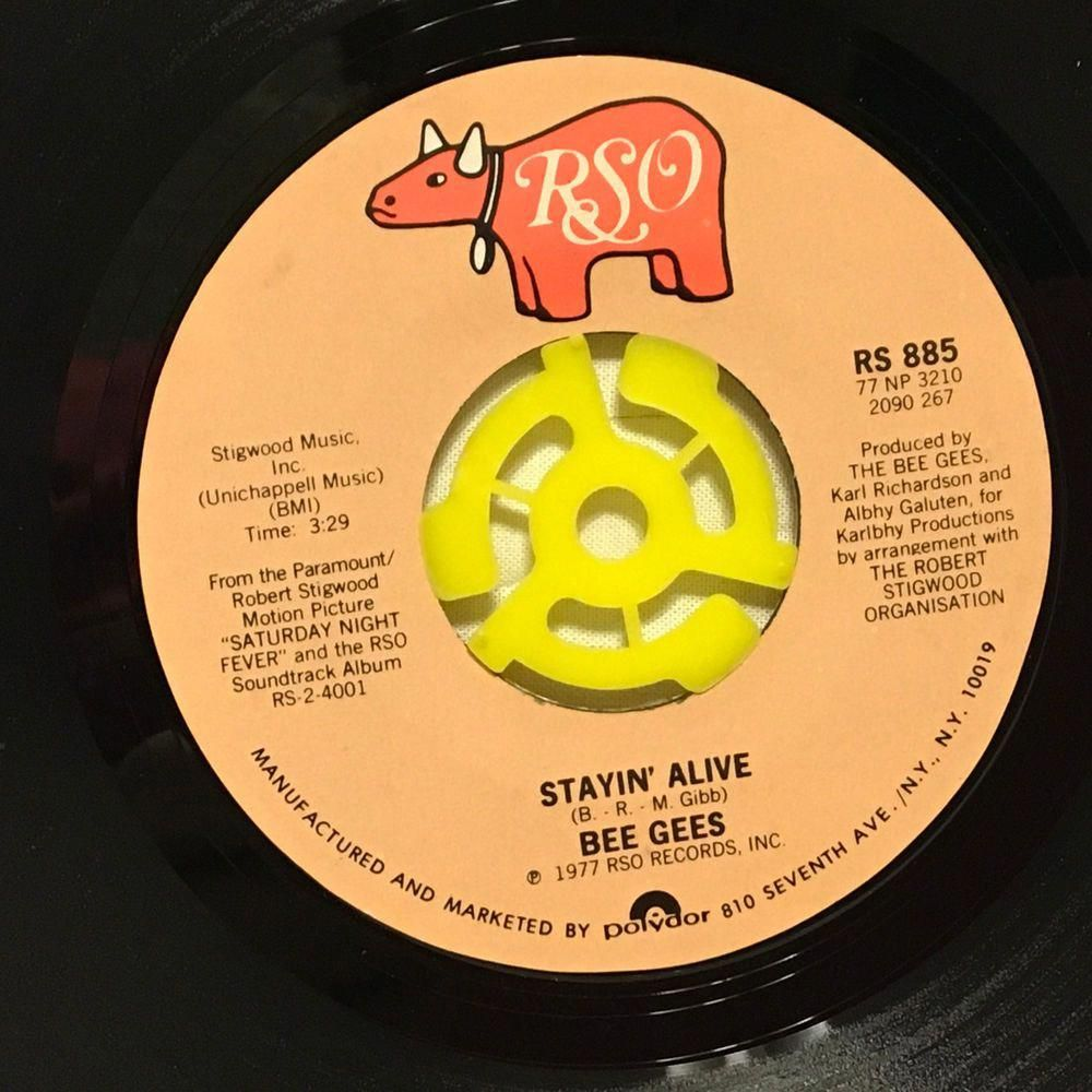 Bee Gees Stayin Alive If I Can T Have You 7 Vinyl 45 Rpm Record 1977 Rso Music Records Ebay Beegees Bee Gees Cant Have You Alive Lyrics