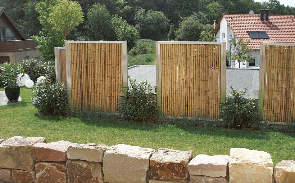 Sichtschutz aus Bambus mit Edelstahlrahmen (bamboo with